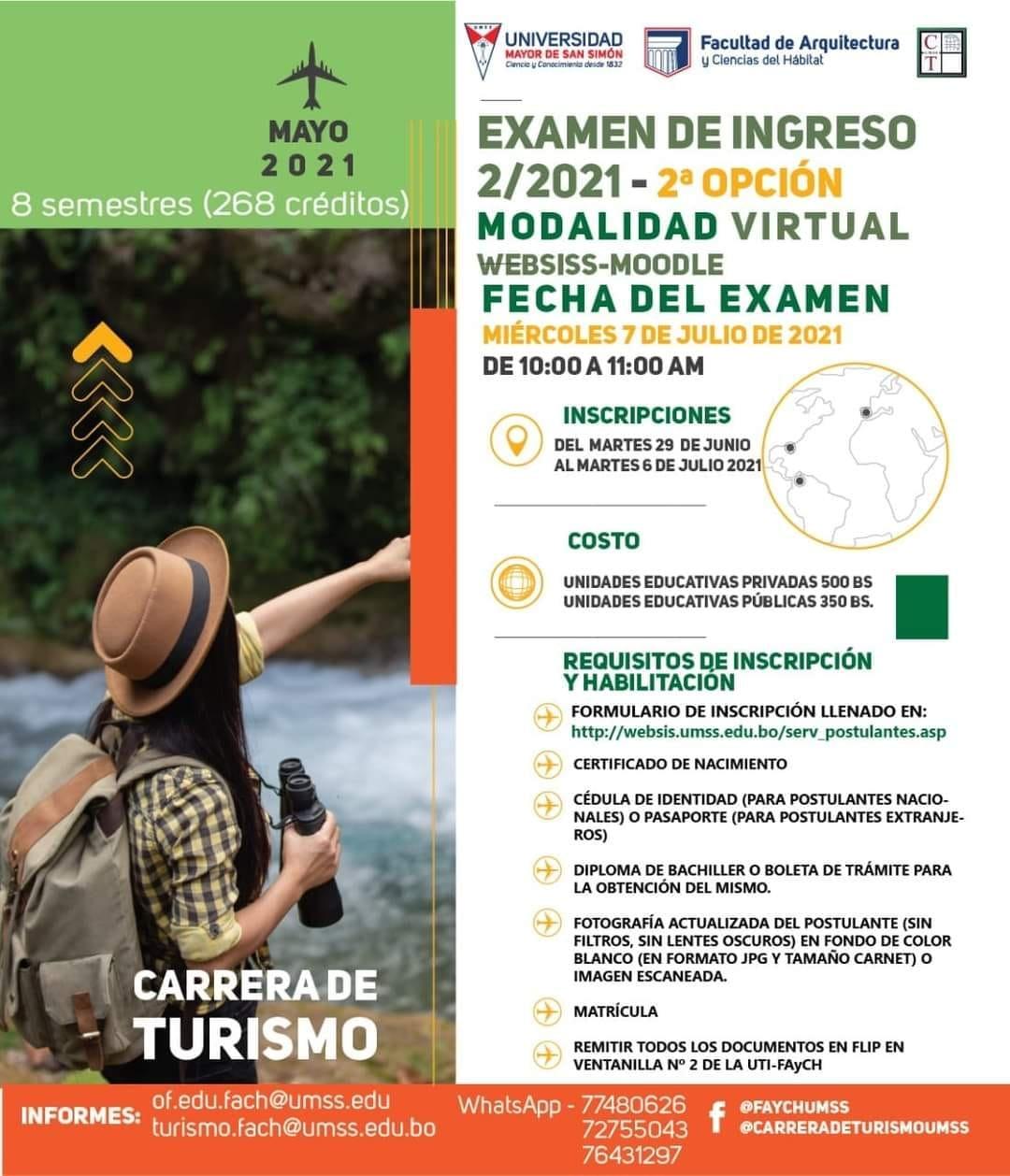 ADMISIÓN GESTIÓN 2-2021 segunda opción CARRERA DE TURISMO MODALIDAD VIRTUAL